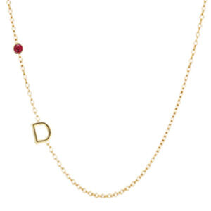 Create your own sideways initial necklace in yellow gold. This custom initial necklace in is a favorite personalized initial necklace - a perfect initial necklace for Mom.