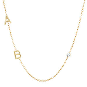 Design your own 3 initial necklace in yellow gold. This custom initial necklace is a favorite personalized initial necklace - a perfect custom initial necklace for Mom.