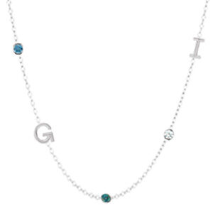 Create your own custom initial necklace. This personalized initial necklace in white gold is a favorite custom initial necklace - a perfect initial necklace for Mom.