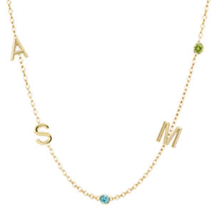 Design your own 5 initial necklace in yellow gold. This personalized initial necklace is a favorite personalized initial necklace - a perfect initial necklace for Mom.