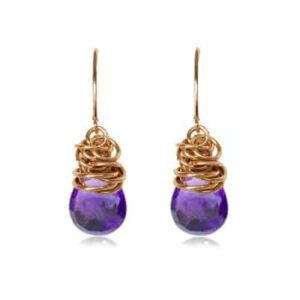 These paisley amethyst earrings in gold are a favorite piece of amethyst jewelry - a perfect February birthstone jewelry gift.