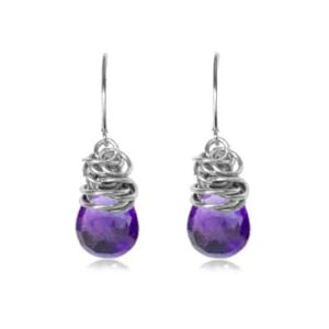 Paisley style February birthstone earrings set in amethyst and sterling silver by Erin Gallagher