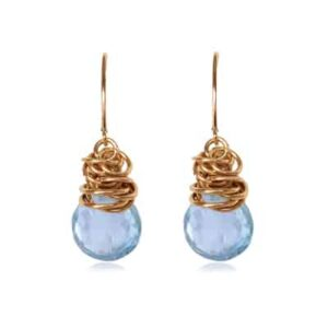 Paisley March birthstone earrings in gold-fill and aquamarine by Erin Gallagher