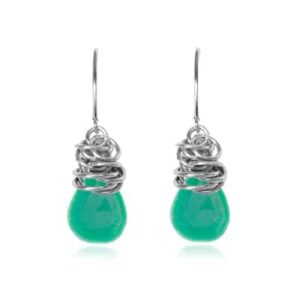 Paisley style May birthstone earrings in chrysoprase and gold-fill by Erin Gallagher
