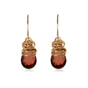 Paisley style January birthstone earrings set in garnet and gold-fill by Erin Gallagher