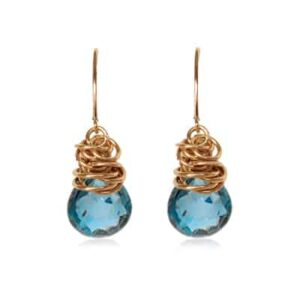 Paisley style September birthstone earring in london blue topaz and gold-fill by Erin Gallagher