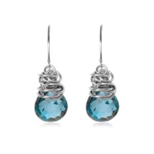 Paisley style September birthstone earring in london blue topaz and sterling by Erin Gallagher