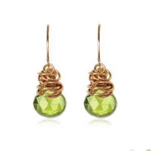 Paisley style August birthstone earring in peridot and gold-fill by Erin Gallagher