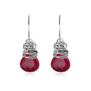 Paisley style July birthstone earring in ruby and sterling silver by Erin Gallagher