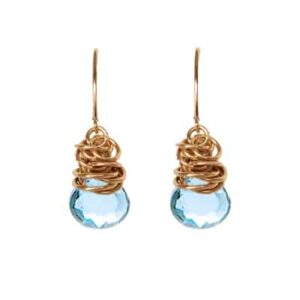 Paisley style December birthstone earrings set in swiss bluw topaz and goldfill by Erin Gallagher