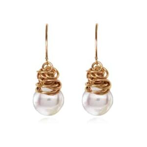 Paisley style June birthstone earring in Pearl and gold-fill by Erin Gallagher