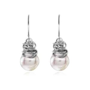 Paisley style June birthstone earring in Pearl and sterling by Erin Gallagher