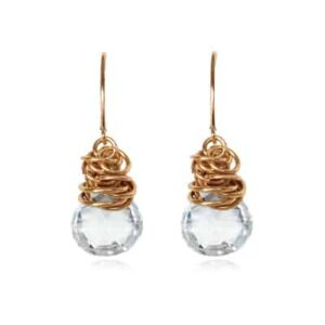 Paisley style April birthstone earrings in white topaz and gold-fill by Erin Gallagher