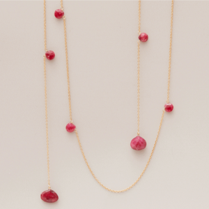 This Abby ruby lariat necklace in gold is a favorite piece of ruby jewelry - a perfect July birthstone jewelry gift.