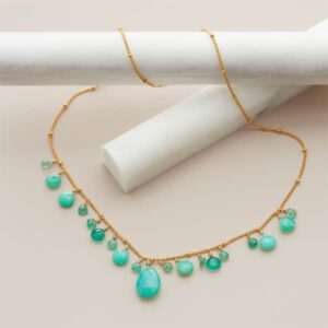 This chrysoprase mini bib neckalce in gold is a favorite piece of chrysoprase jewelry - a perfect May birthstone gift.