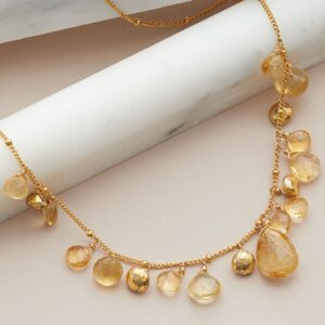 citrine mini bib necklace