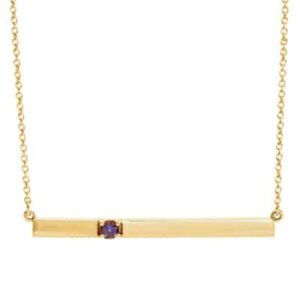 This alexandrite bar necklace in yellow gold is a favorite piece of alexandrite jewelry - a perfect June birthstone jewelry gift.