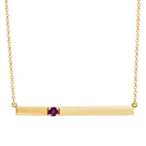 This amethyst bar necklace in yellow gold is a favorite piece of amethyst jewelry - a perfect February birthstone jewelry gift.