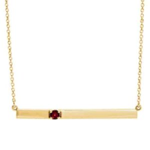This garnet bar necklace in yellow gold is a favorite piece of garnet jewelry - a perfect piece of january birthstone jewelry.