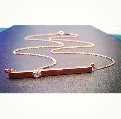 The custom bar necklace in white gold is a favorite piece of custom jewelry - a perfect custom birthstone jewelry gift.