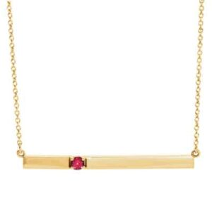 The Jen tourmaline bar necklace in yellow gold is a favorite piece of tourmaline jewelry - a perfect October birthstone jewelry gift.