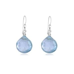Cameron style March birthstone earring in aquamarine by Erin Gallagher
