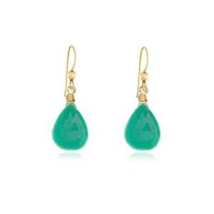 Cameron style May birthstone earring in chrysoprase by Erin Gallagher