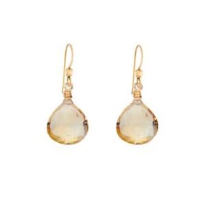 Cameron style birthstone earrings in citrine by Erin Gallagher