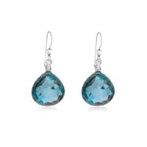 Cameron style September birthstone earring in london blue topaz by Erin Gallagher
