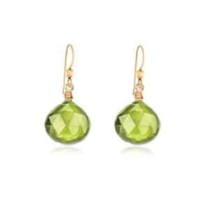 Cameron style August birthstone earring in peridot by Erin Gallagher