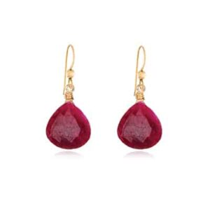 Cameron style July birthstone earring in ruby by Erin Gallagher