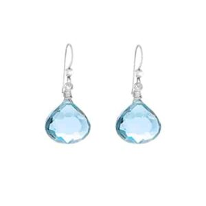 Conor style December birthstone earrings in swiss blue topaz and sterling silver by Erin Gallagher