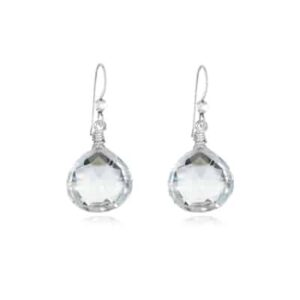 Cameron style april birthstone earring in white topaz and sterling silver by Erin Gallagher