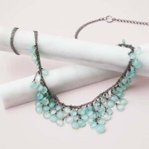 The Cynthia bib chalcedony necklace in oxidized silver is a favorite piece of chalcedony jewelry. A chalcedony necklace is a perfect gift.
