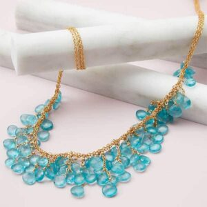 apatite gemstone bib necklace in gold