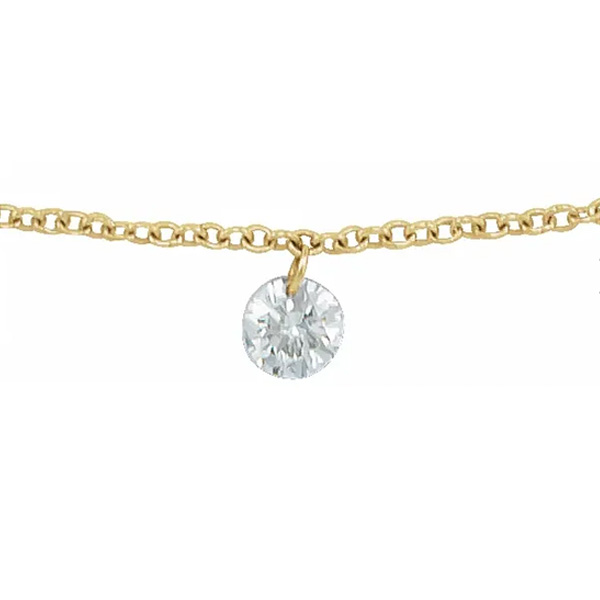 Diamond center necklace in yellow gold is a favorite piece of diamond jewelry - a perfect April birthstone jewelry gift.