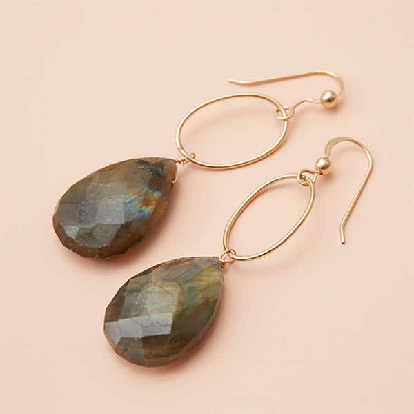 These Eleanor labradorite hoop earrings are a favorite piece of labradorite jewelry. Hoop labradorite earrings- a perfect gift for any holiday.