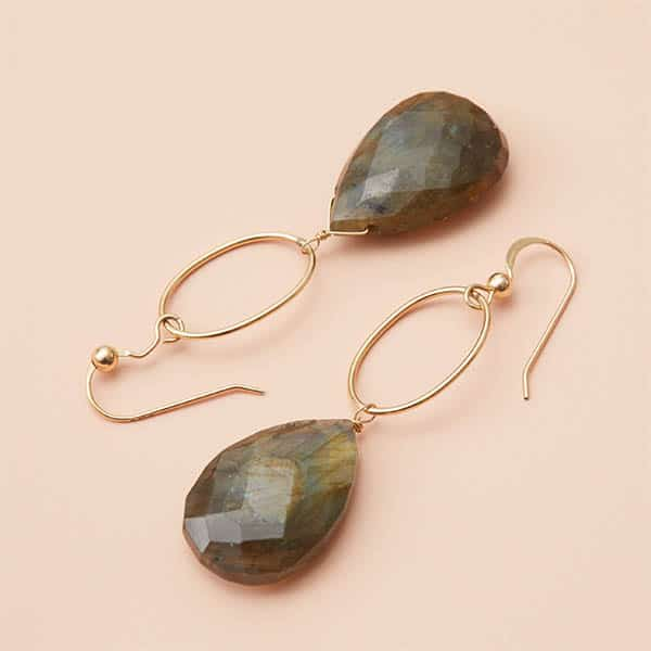 These Eleanor labradorite earrings are a favorite piece of labradorite jewelry. Drop labradorite earrings- a perfect gift for any holiday.
