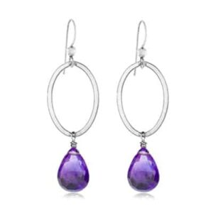 Eleanor style February Birthstone Earrings in Amethyst