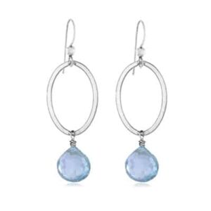 Eleanor style March Birthstone Earrings in Aquamarine