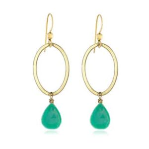 Eleanor style May Birthstone Earrings in Chrysoprase