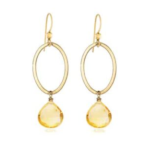Eleanor style November birthstone earrings in citrine