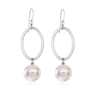 Eleanor style June Birthstone Earrings in Pearl