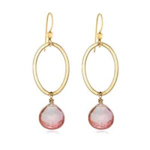 Eleanor style October Birthstone Earrings in PInk Topaz