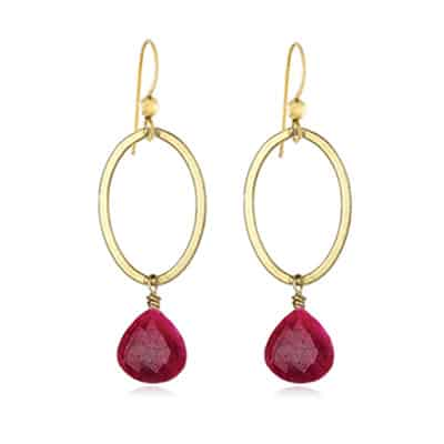Eleanor style July Birthstone Earrings in Ruby
