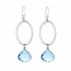 Eleanor style December birthstone earrings in swiss blue topaz