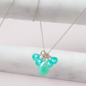 elsa style May birthstone necklace in chrysoprase and sterling-silver by Erin Gallagher