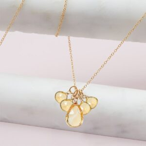elsa style November birthstone necklace in citrine and gold-fill by Erin Gallagher