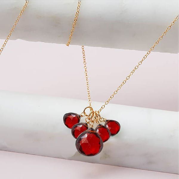 elsa style January birthstone necklace in garnet and gold-fill by Erin Gallagher