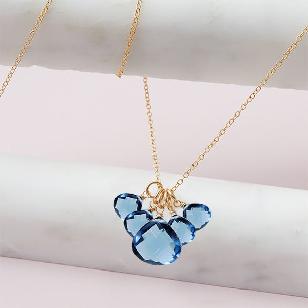 elsa style September birthstone necklace in london blue topaz and gold-fill by Erin Gallagher